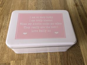 Shabby Personalised chic AUNTIE AUNTY AUNT Cake Biscuit Tin gift ANY NAME Baker - 232937320263